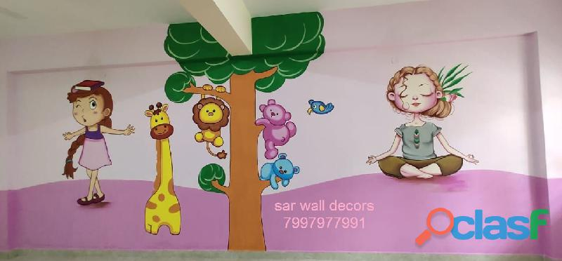 3D cartoon Animation wall painting in Hyderabad 3