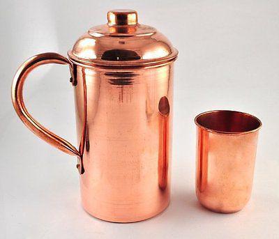 Handmade Copper Vessel Drink ware Pitcher(Jug 1025 ml) & 0