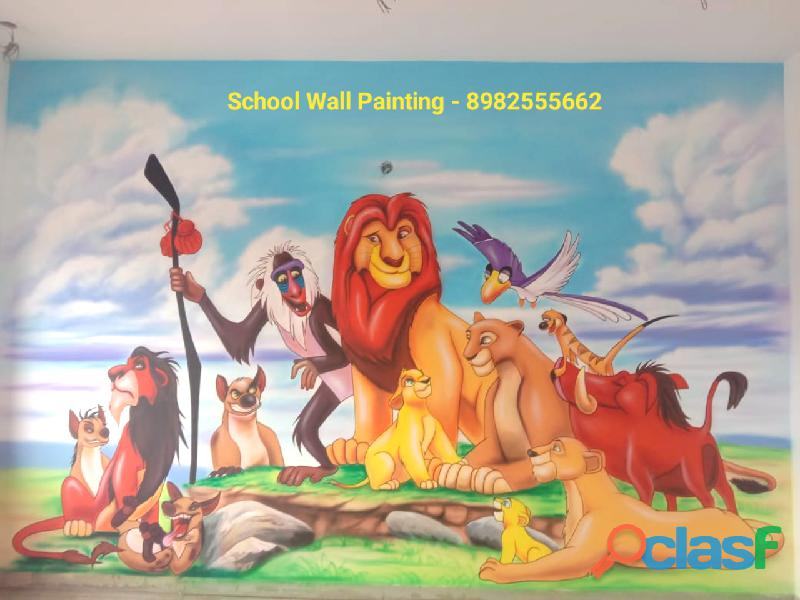 Playschool Cartoon Painting Works Gwalior,Kids Room Wall Painting Service Gwalior