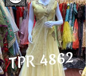 Tpr 4856 net front n back embroidered gonw wd net embroidere