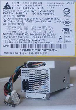 Delta electroni ibm 670w x3400 x3500 server 24r2719 24r2720
