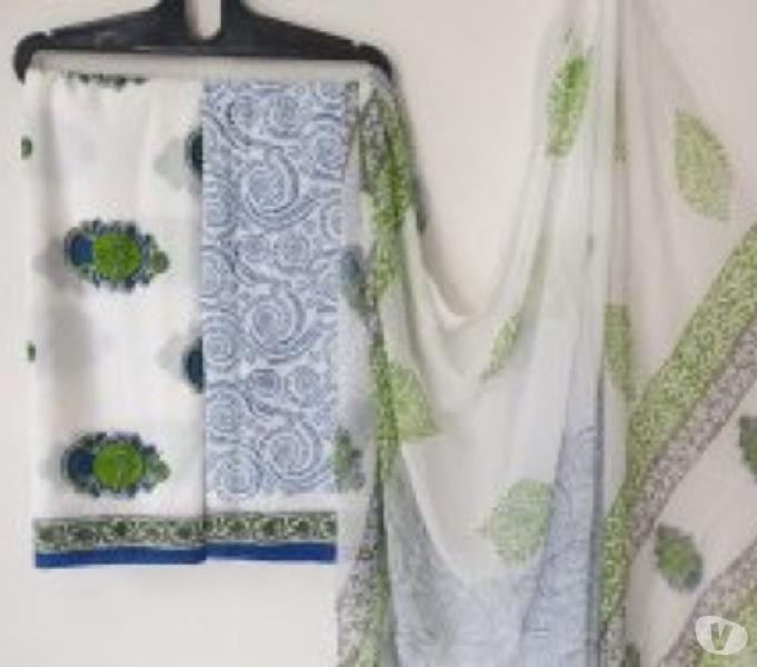 Buy cotton suit set with chiffon dupatta wholesale