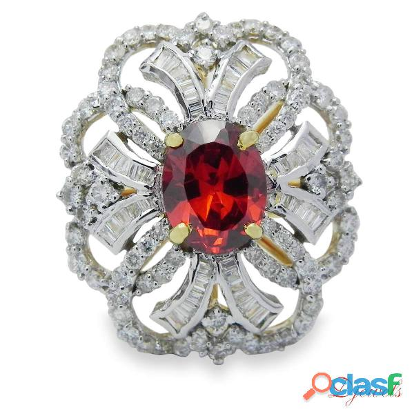 Diamond Ladies Ring with Red Stone