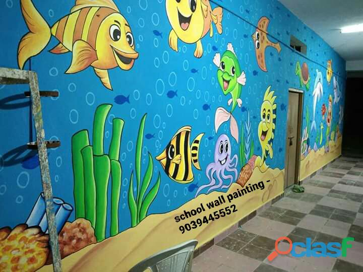 Wall painting for primary school in sikar,school wall paintings in sikar