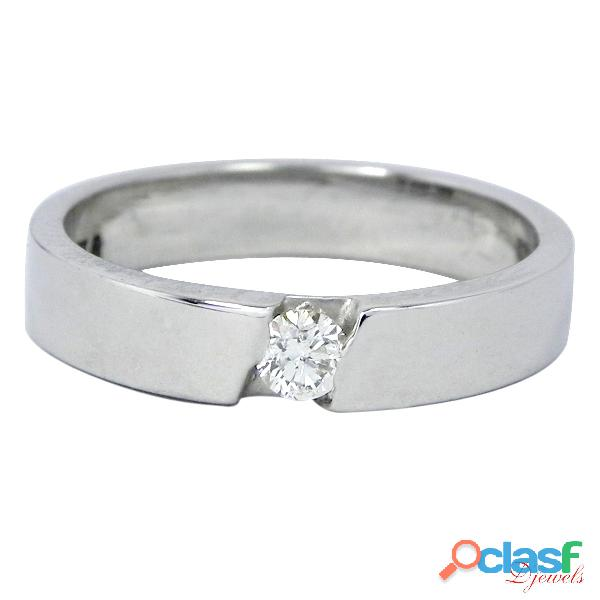 Solid white gold solitaire diamond engagement ring
