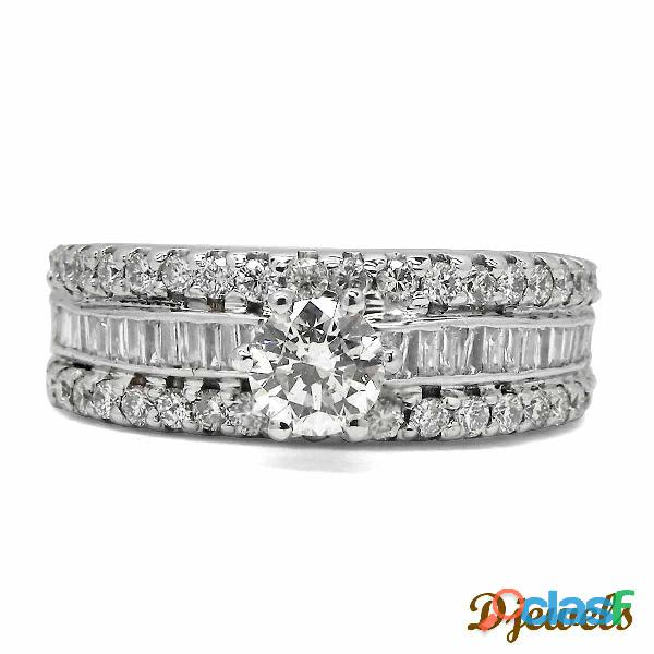 Solitaire white gold designer diamond band ring