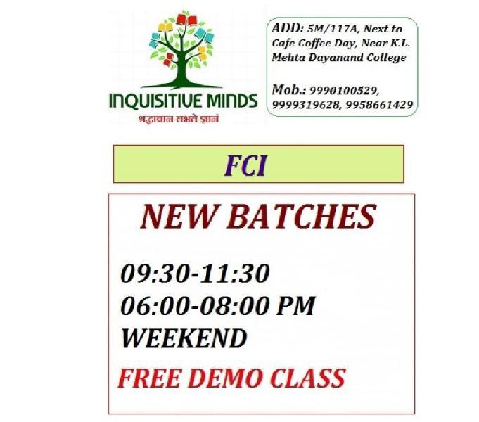 Fci batch in faridabad @ inquisitive minds