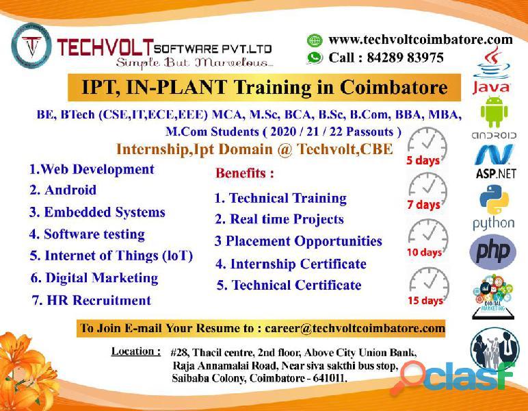 Web application development internship in techvolt coimbatore