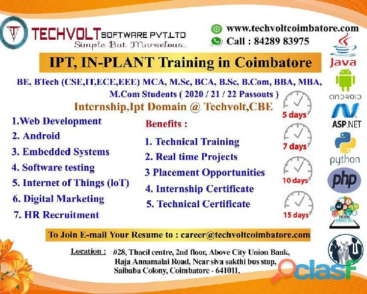Cse internship in coimbatore ||techvolt software internship||saibaba colony, gandhipuram|coimbatore