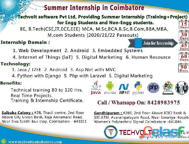M.sc,bca,b.sc internship training in coimbatore ||techvolt software internship training