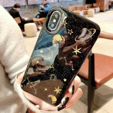 Glitter space planet phone cases for iphone