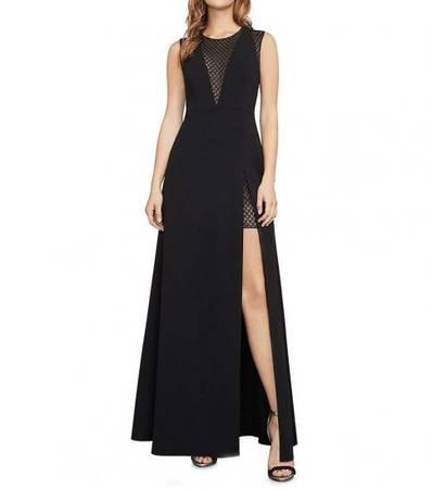 BCBGMAXAZRIA Black A-Line Mesh Slit Dress - clothing &