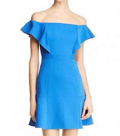 Bcbgmaxazria larkspur blue alandra off shoulder dress -