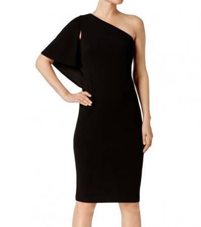 CALVIN KLEIN Black Ruffled One Shoulder Dress - clothing &