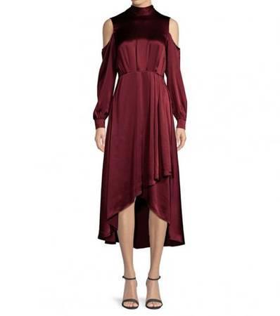 DIANE VON FURSTENBERG Cabernet Silk High-Low Midi Dress -