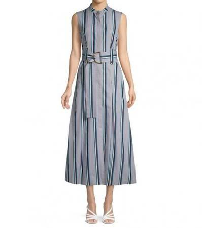 Diane von furstenberg smoke multi stripe belted maxi dress -