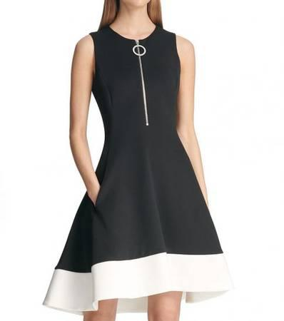 DKNY Black White Zippered Dress - clothing & accessories -