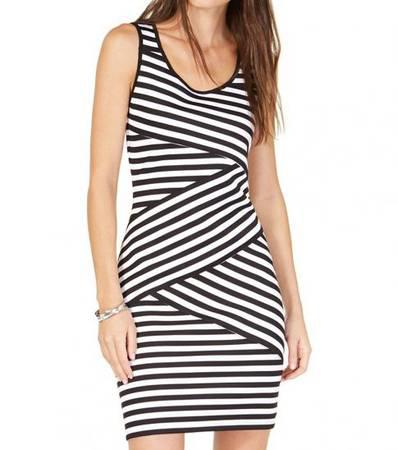MICHAEL KORS Black White Striped Crossover Dress - clothing
