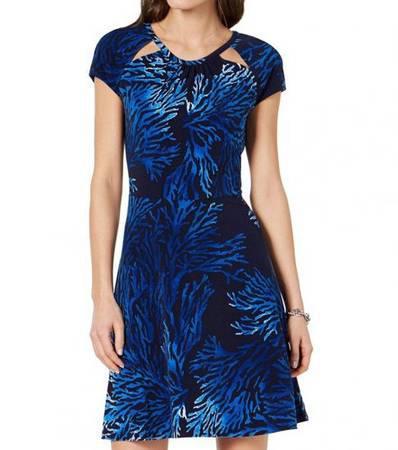 MICHAEL KORS Grecian Blue Cutout-Neck Dress - clothing &