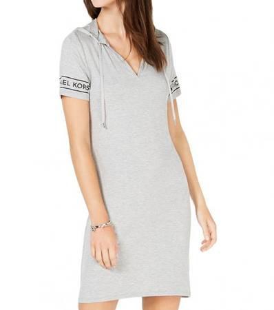 MICHAEL KORS Pearl Heather Logo Hoodie Dress - clothing &