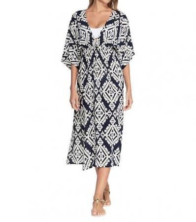 TORY BURCH Navy Geo Print Cover-Up Dress - clothing &