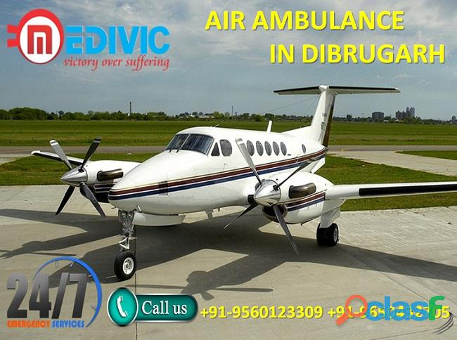 Book stable and comfortable air ambulance service in dibrugarh by medivic