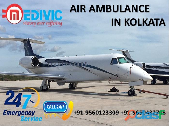Hire low fare icu care air ambulance service in kolkata by medivic