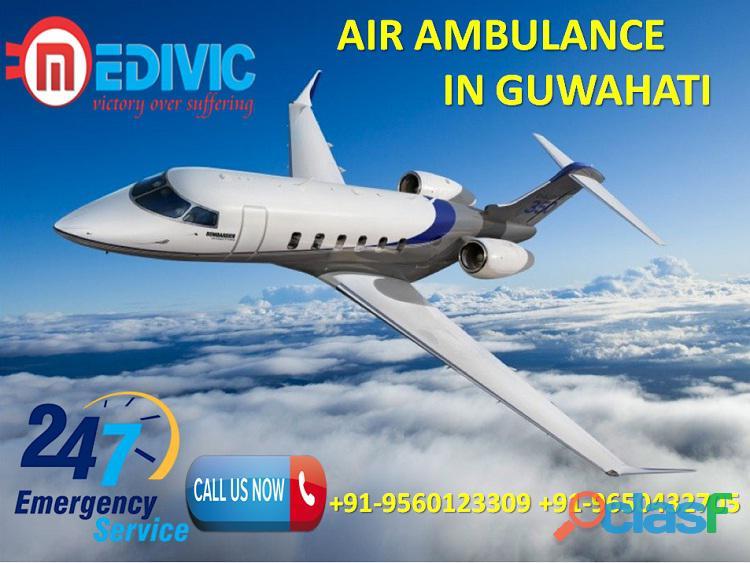 Take comfortable icu setup air ambulance service in guwahati by medivic