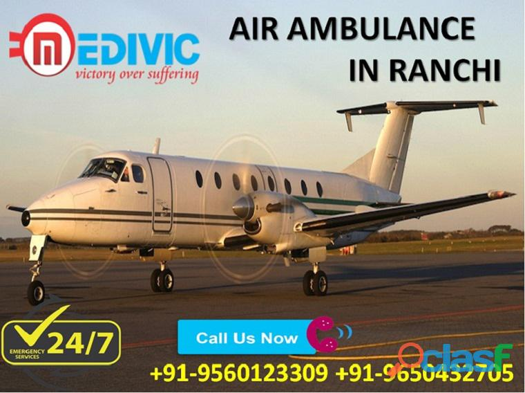 Use 24*7 Hrs Emergency ICU Care Air Ambulance Service in Ranchi by Medivic