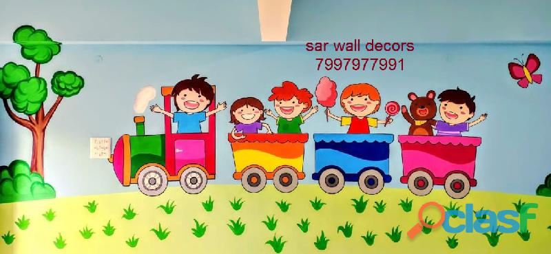 3D cartoon Animation wall painting in Hyderabad