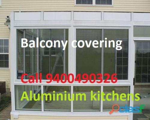 BALCONY covering   with GLASS  Call 940490326 Bangalore 7