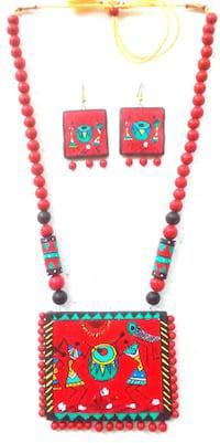 Festive trendy handmade terracotta necklace sets is