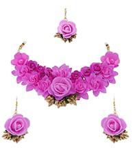 Izaara floral floret pearl pink flower jewellery