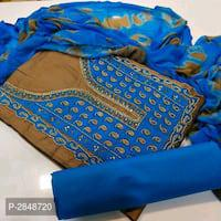Jam cotton embroidered work dress material