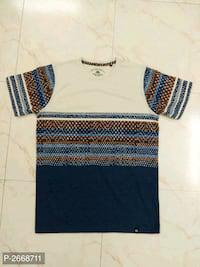 Multi colored printed cotton round neck tees