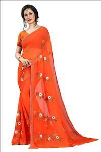 Orange georgette saree with blouse