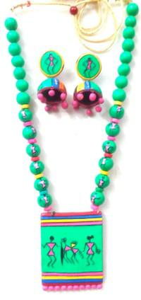 Spanking terracotta necklace inspired by mythology and folk