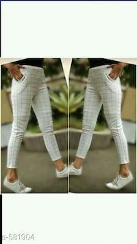 Women's checked cotton blend trouser