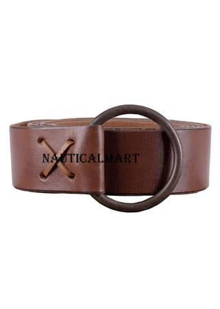 Nauticalmart medieval leather belt with brass ring, approx.