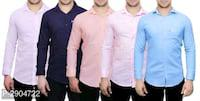 Pack of 5 cotton solid regular fit casual shirts