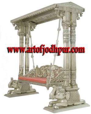 Jodhpur handicrafts metal fitted carved jhula swings