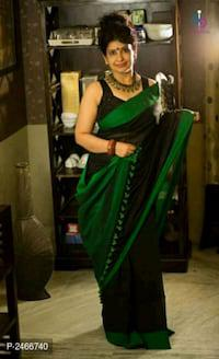 Green Cotton Saree with Black blouse