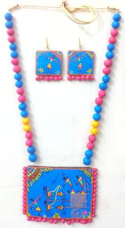 Festive Favorable Terracotta Necklaces can be donned with
