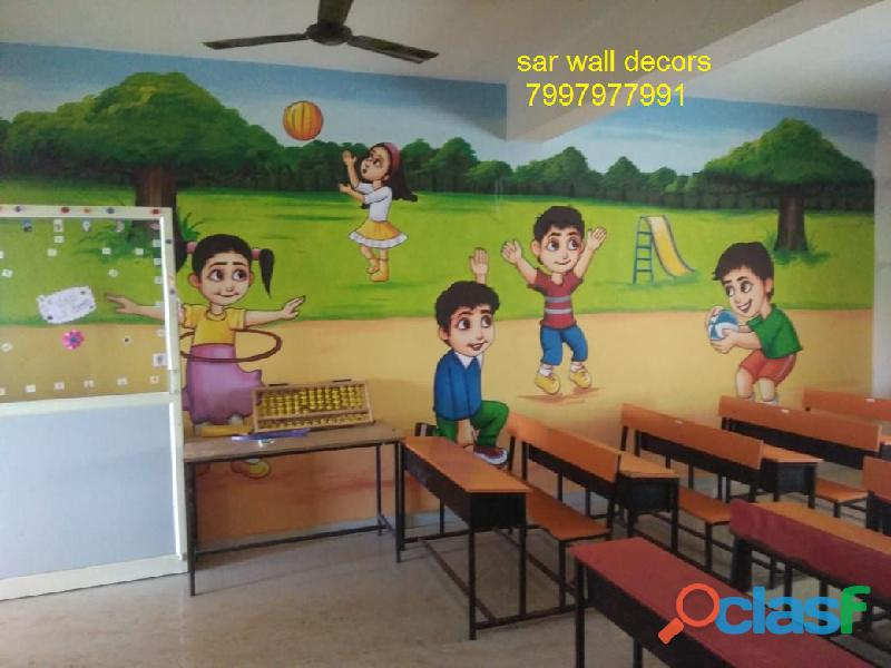 play school Awesome cartoon wall painting in Hyderabad