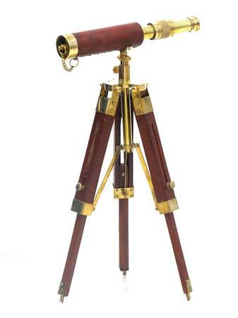 Solid Brass Telescope with Wooden Tripod Stand - Gifts -