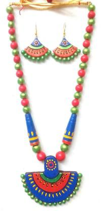Festive primo handmade terracotta necklace is a proud