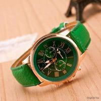 Lovers fashion synthetic leather band round analog