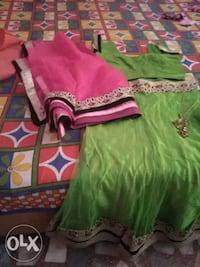 New green lengha with pink dupatta