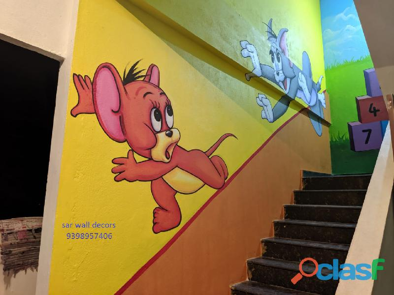 3d cartoon wall painting for kids school in hyderabad