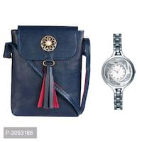 Combo of sling bag with metal watch for women
